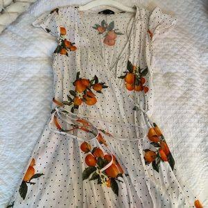 Peach Wrap Mini Dress